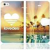 [iPhoneSE 5S 5 兼用 手帳型 ケース カバー] LOVEDES ハワイアン R
