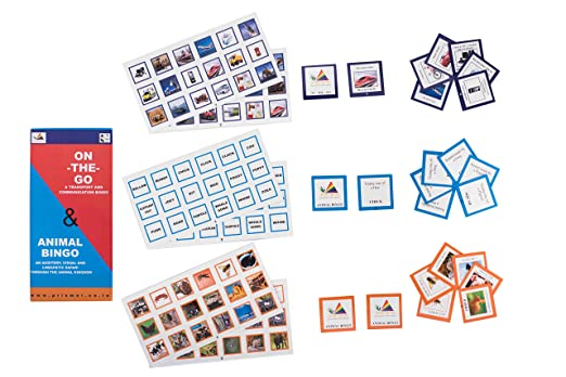 Prism Edutives Animal and On The Go Pictorial On Animal Facts And Means Of Transport And Communication Bingo (Blue and Red)