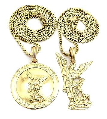 Saint michael archangel medal pendant set w 2mm 61cm 76cm box saint michael archangel medal pendant set w 2mm 61cm 76cm box chain necklace in aloadofball Gallery