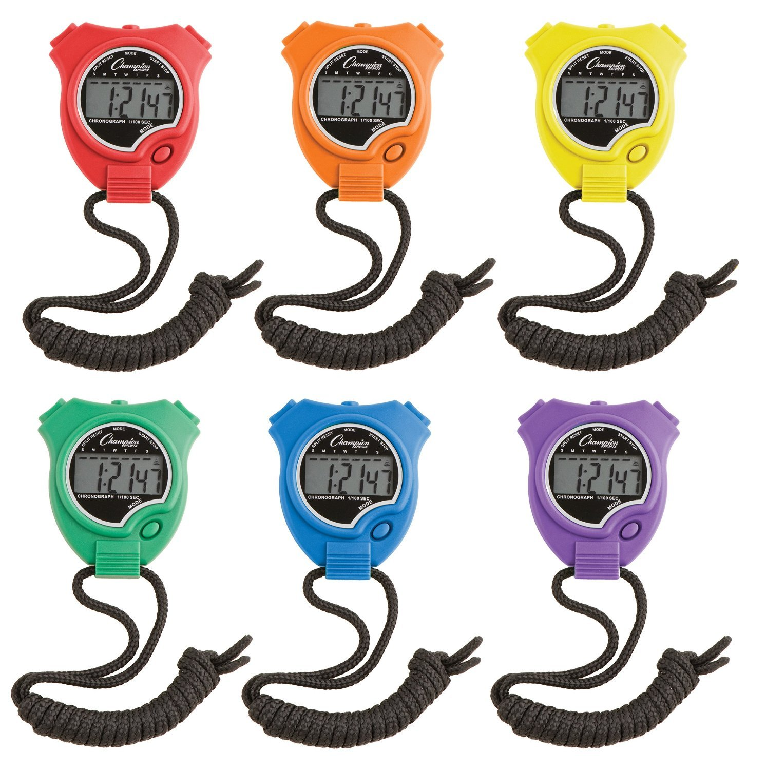 Water-Resistant Stopwatches Assorted Colors 6//Set CSI910SET 1//100 Second Champion Sports 910SET