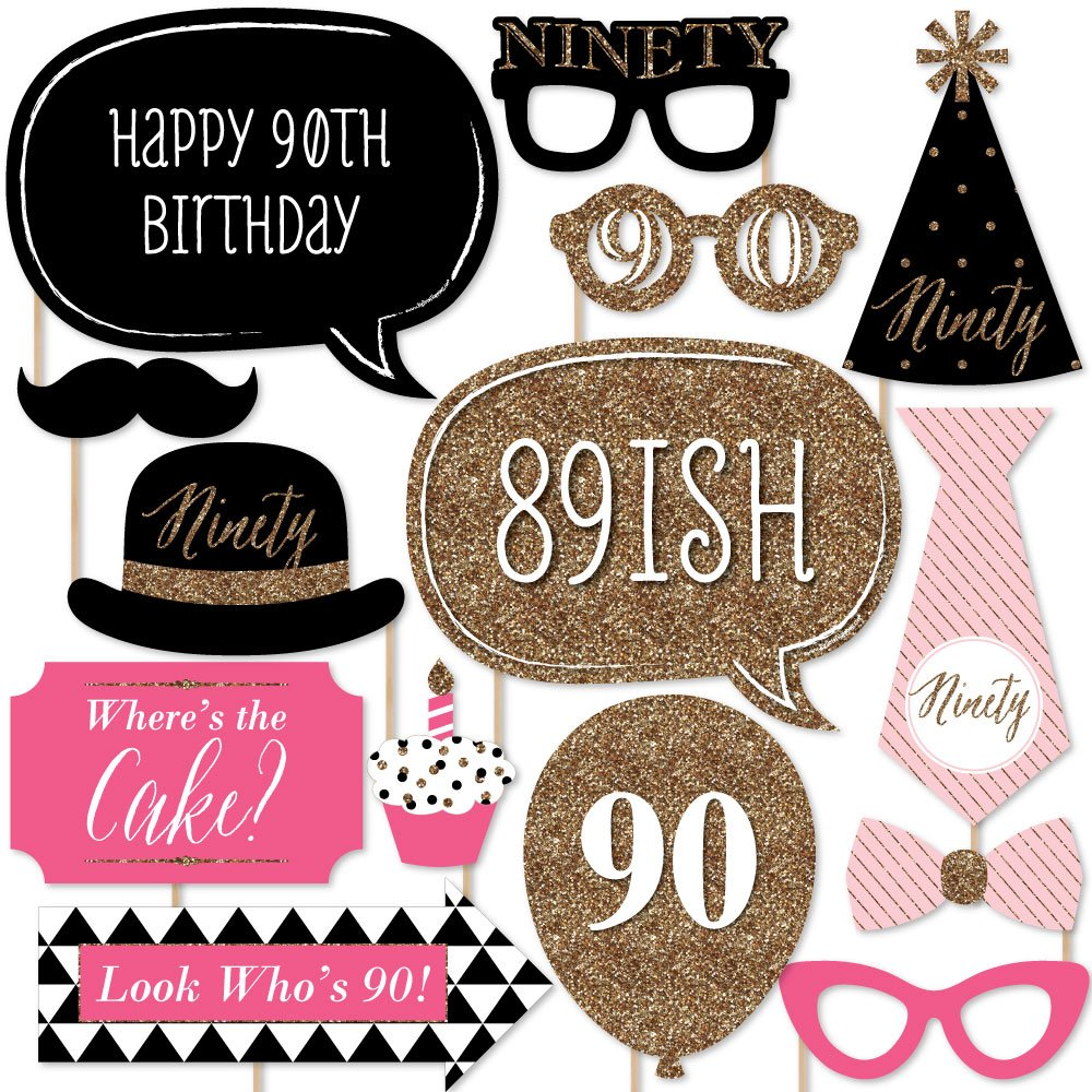 Chic 90th Birthday - Pink, Black and Gold - Birthday Party Photo Booth Props Kit - 20 Count by Big Dot of Happiness