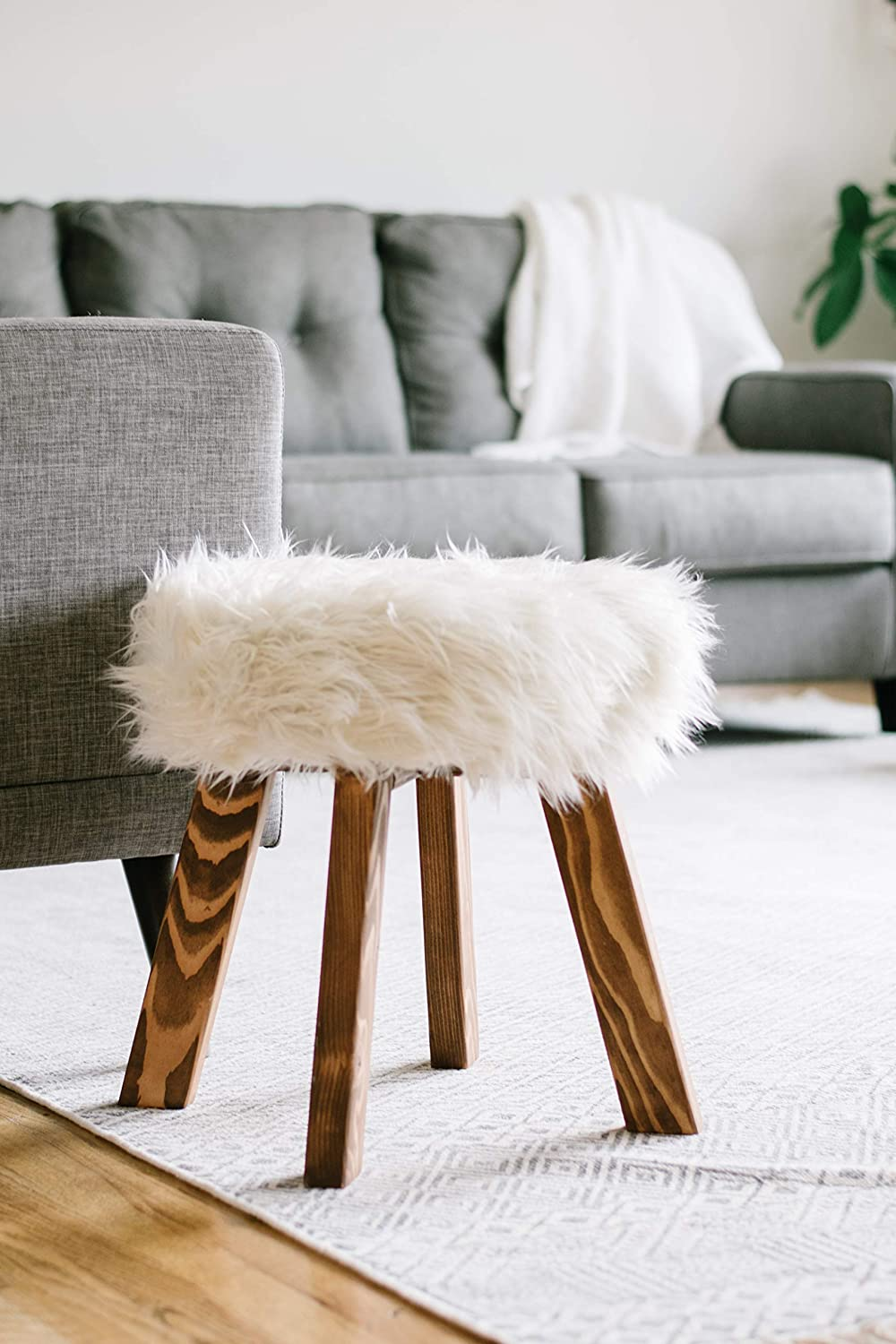 Swell Amazon Com Faux Fur Stool Shag Vanity Seat Upholstered Andrewgaddart Wooden Chair Designs For Living Room Andrewgaddartcom