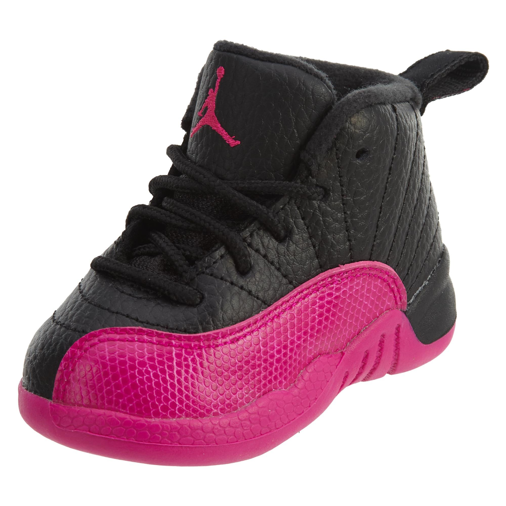 NIKE Jordan 12 Retro GT Toddlers Basketball Shoes Black/Deadly Pink 819666-026 (10 M US)