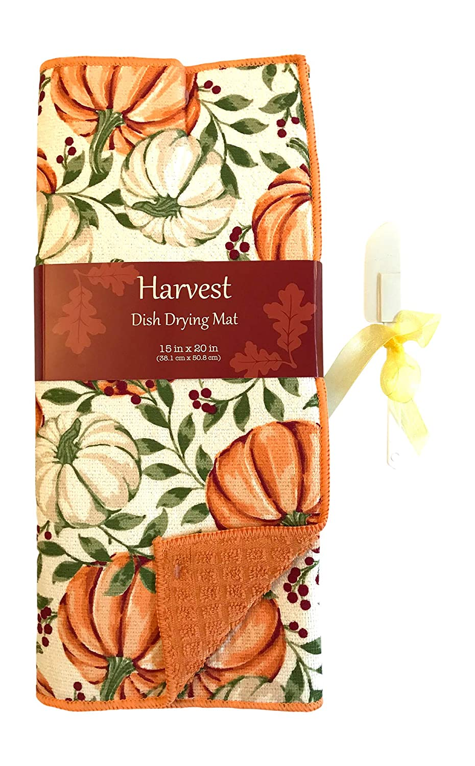 Fall Harvest Dish Drying Mat Colorful Orange and White Pumpkins on Orange Backing