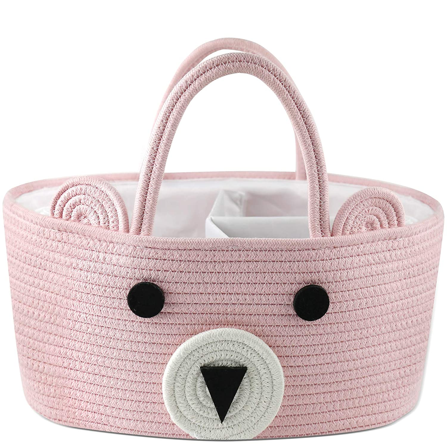Top Baby Shower Basket Conthfut Baby Diaper Caddy Organizer 100/% Cotton Canvas Stylish Rope Nursery Storage Bin Portable Tote Bag /& Car Organizer For Changing Table