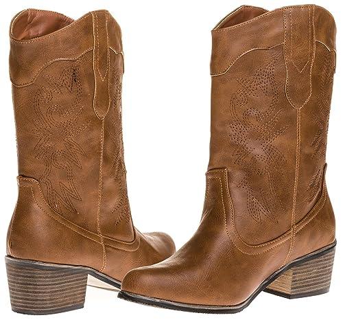 b21a1fd7b04 Amazon.com | Sara Z Ladies Pu Cowboy Boot (Cognac), Size 6 | Boots