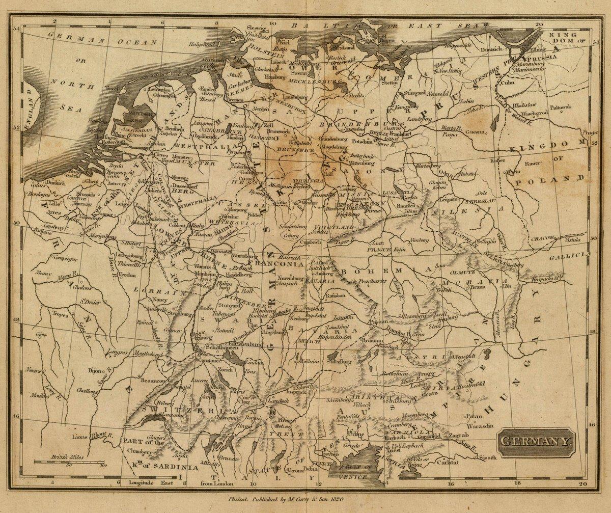 1825 School Atlas | Germany. Philad., Published by M. Carey & Son, 1820. (1825) | Antique Vintage Map Reprint