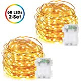 Fairy Lights Battery Operated, DecorNova 60 LED Starry Copper Wire String Lights with 3 AA Battery Case & Timer for Christmas Jar Bedroom Wedding Party Decorations, 9.8 Feet, Warm White (2 Set)