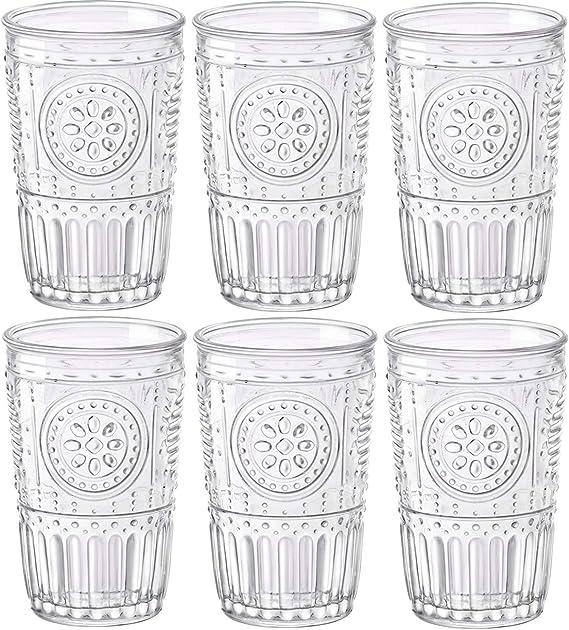 Bormioli Rocco Romantic Juego de 6 Vasos 30,5 cl, Cristal Transparente, 8 x 8 x 12,5 cm: Amazon.es: Hogar
