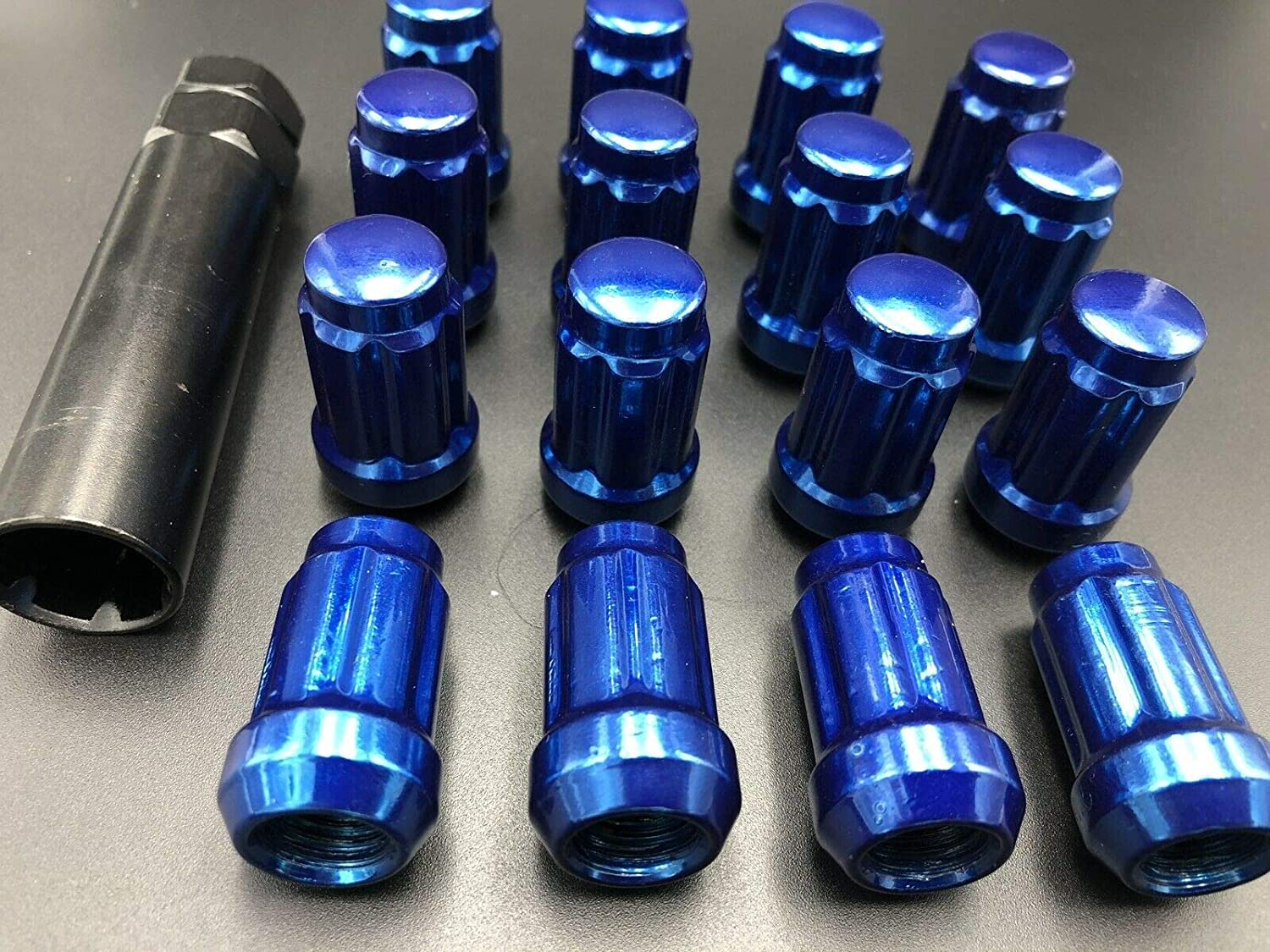 Dark Blue Locking ATV UTV Lug Nuts with Key 12 x 1.5 Fits Ranger RZR 1000 XP can Am Maverick X3 RZR Turbo
