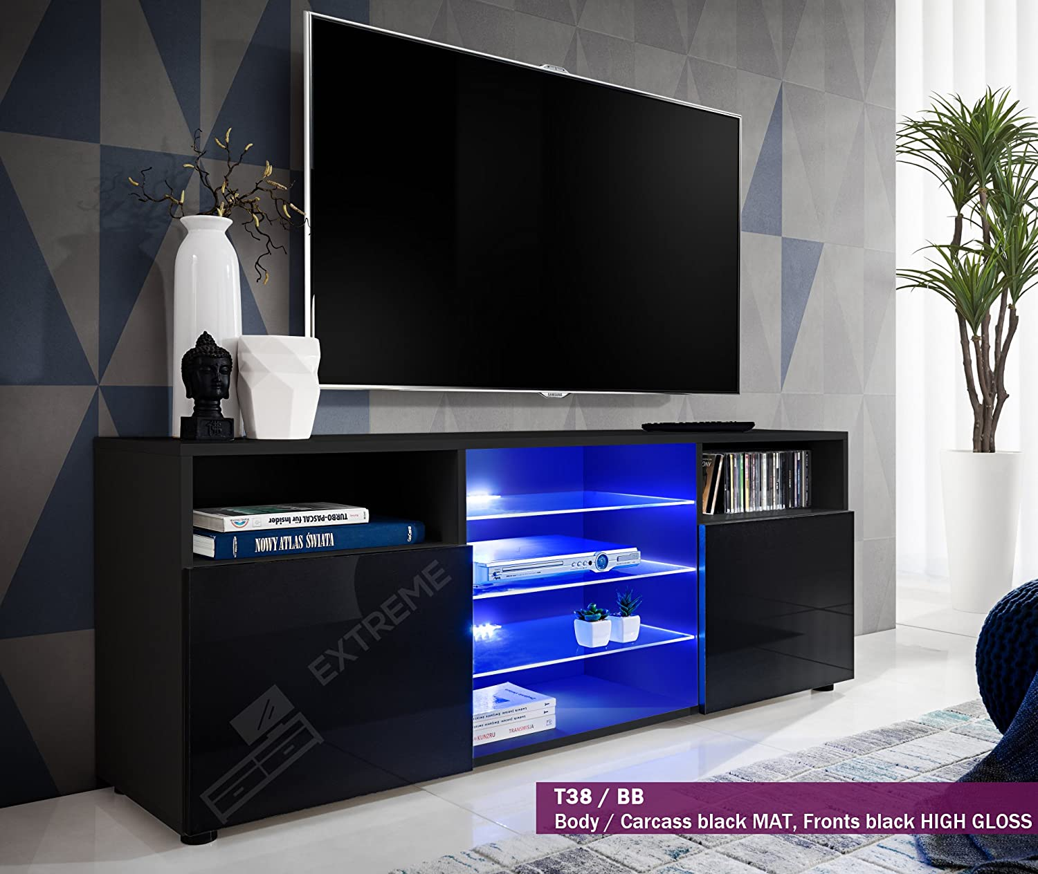 T38 146cm Cabinet Media Center Tv Console Stand Entertainment