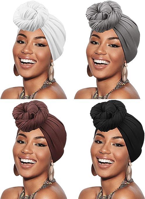 DRESHOW Enveloppement de Cheveux pour Noir Femmes /Écharpe Extensible Turban /Élastique /Écharpe Wrap de Cheveux Longs Turban Doux de Couleur