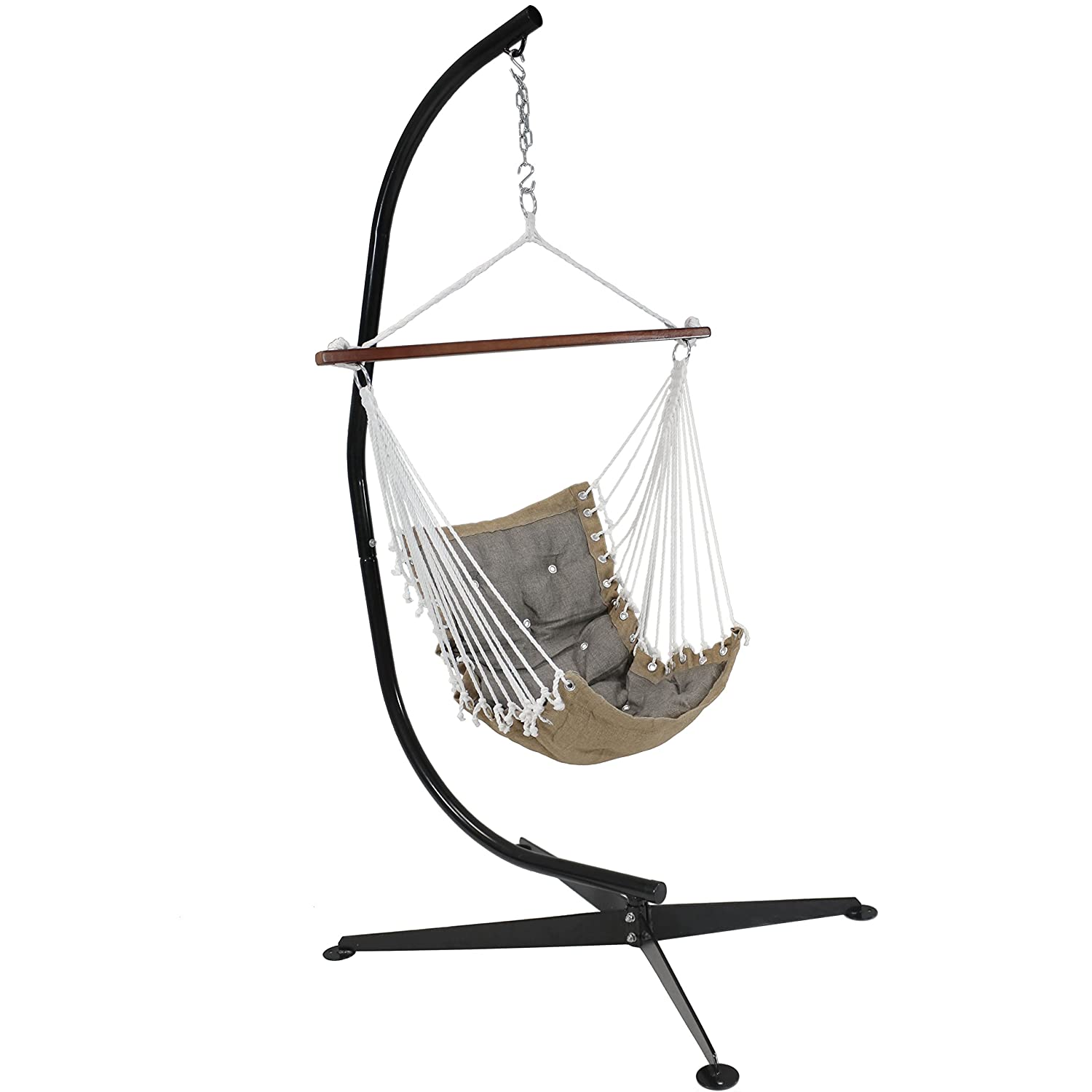 Sunnydaze Tufted Victorian Hammock Swing with C-Stand Gray 300-Pound Weight Capacity