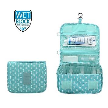 a0ac2ffa3 2018 Nueva Bolsa de artículos de tocador para Colgar Organizador de baño  Viaje Nylon Bolsa de cosméticos portátil para Mujeres y Hombres (Árbol  Azul): ...