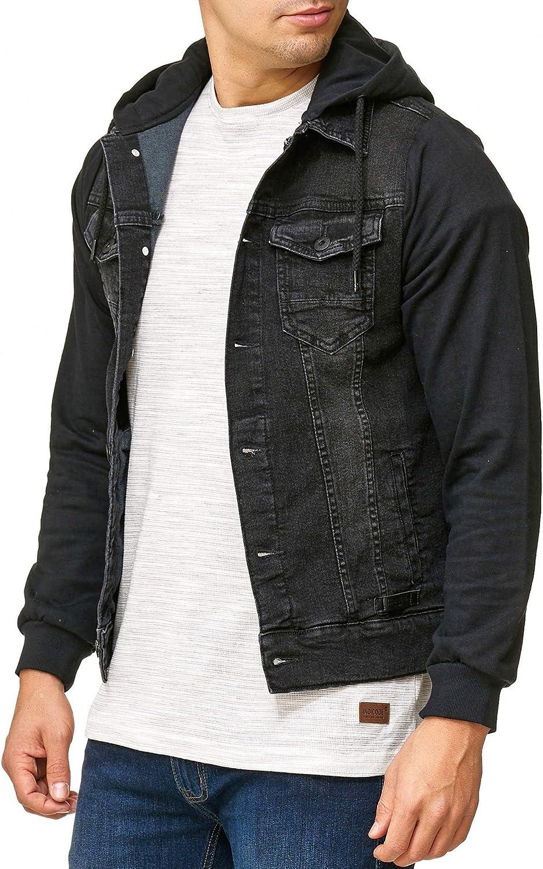 Indicode Uomo Boscobel Giacca in Jeans con Maniche Felpa E Cappuccio | Gilet - Look Moderna di Mezza Stagione Comoda Denim Hoodie Jacket per Uomo Nero JRrLq