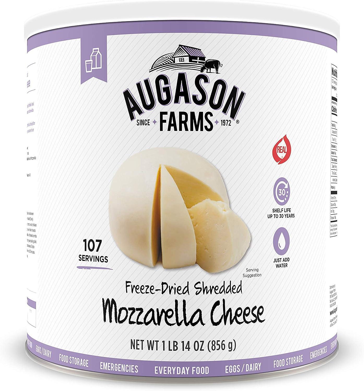 Augason Farms Freeze Dried Shredded Mozzarella Cheese 1 lb 14.19 oz No. 10 Can