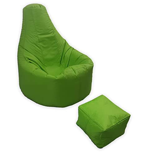 Large Gaming Beanbag Indoor And Outdoor Garden Lounge Gamer Chair With Matching Foot Stool In Lime
