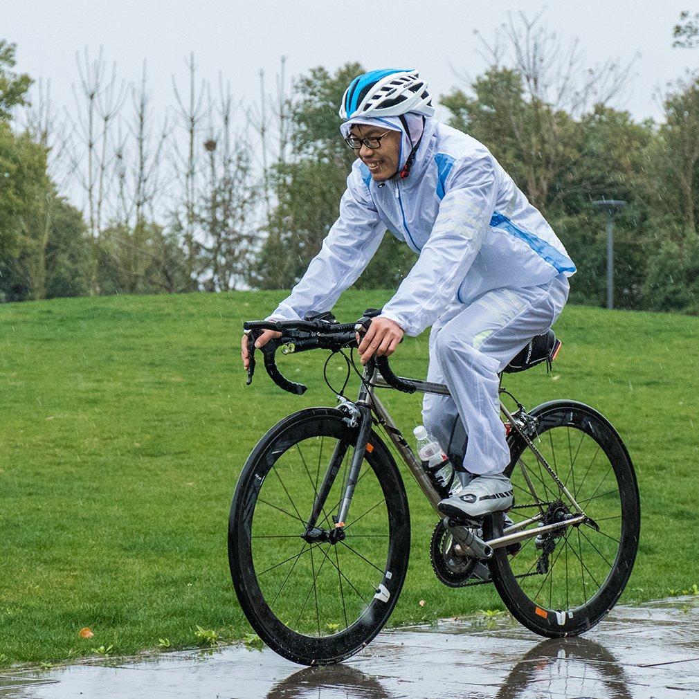 ROCKBROS(ロックブロス)サイクリング レインコート上下セット 防雨防風ジャージー&ズボン コーキングラミネート防水 通気 収納袋付き B07114XZXQ XXL|ホワイト ホワイト XXL