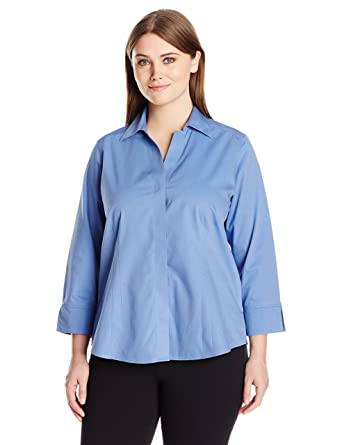 57bb2c946a1df7 Foxcroft Women's Plus Size 3/4 Sleeve Taylor Essential Non Iron Shirt at Amazon  Women's Clothing store: