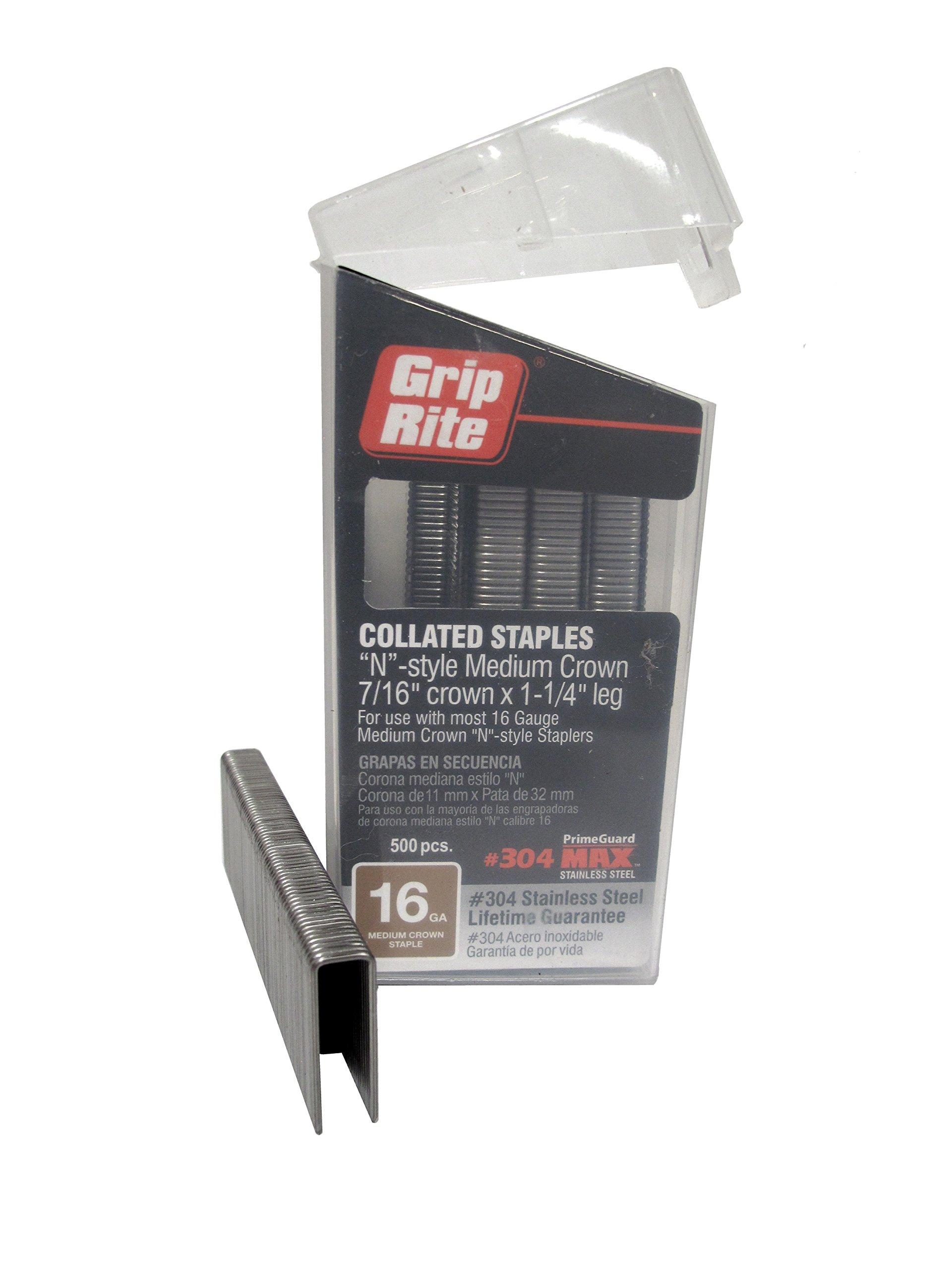 Grip Rite Prime Guard MAXB64890 16-Gauge 7/16'' Medium Crown by 1-1/4'' 304-Stainless Steel Staples in Belt Clip Box (Pack of 500)