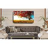 Quadro Paisagem Árvore Colorida 55x100 Cm