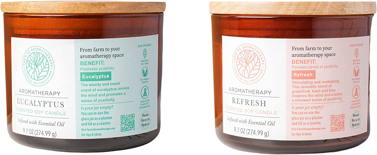 Farm to Aromatherapy 2-Wick Candle with Wooden Lid Bundle to Promote Positivity: Eucalyptus & Refresh, Long Burn, Revitalize, Reenergize, Stress Relief, Promotes Wellness, Pure, 9.7 Oz. (2-Pack)