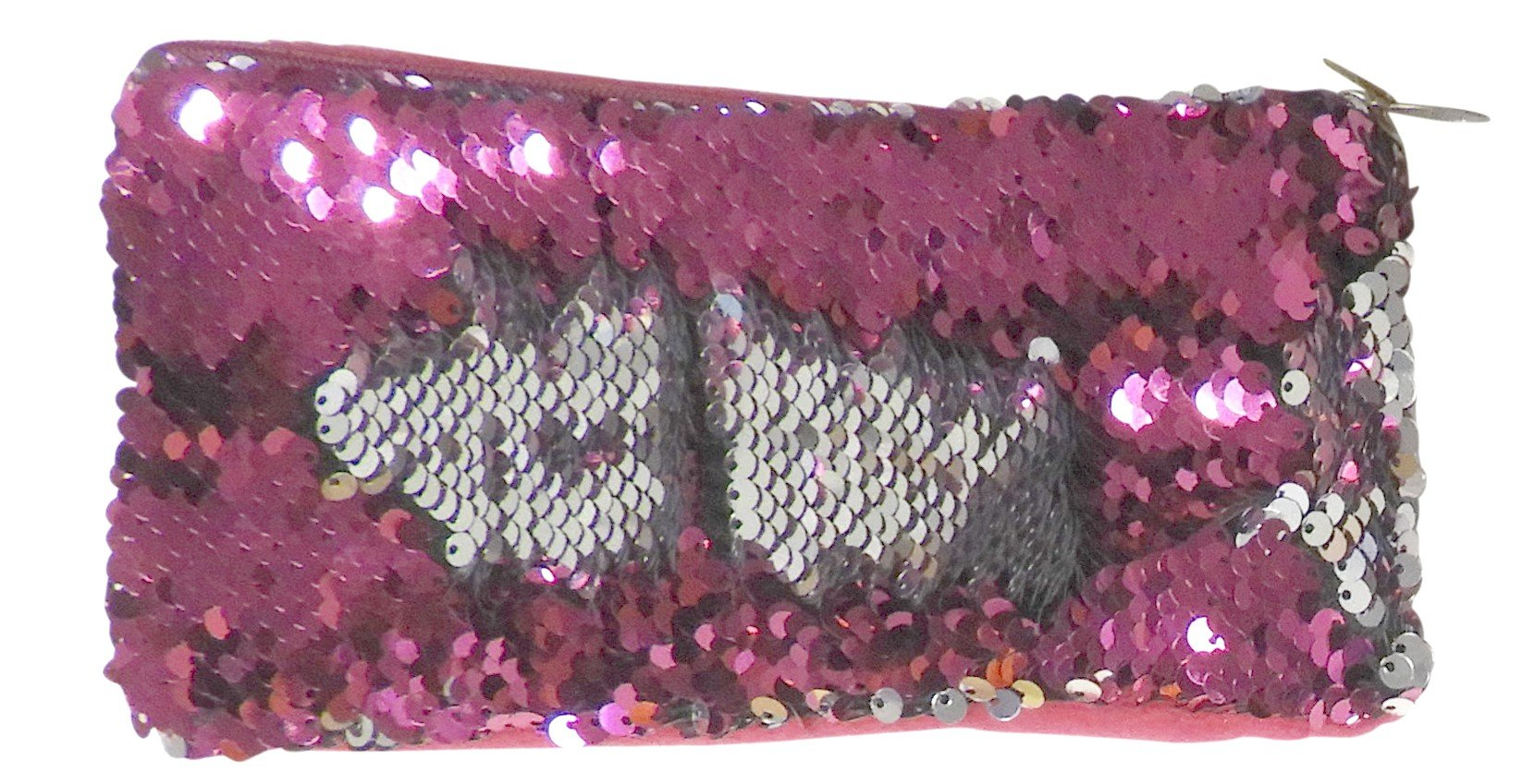 DINY Home & Style Mermaid Sequin Evening Bag Clutch Purse Cell Phone Holder With Zipper (Hot Pink with Silver)