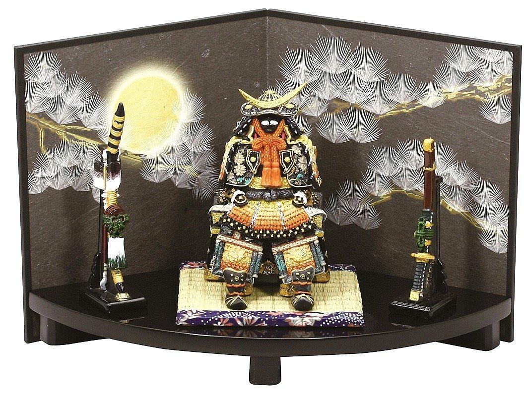 【ミニ五月人形】 5320 伊達公鎧緋扇台飾り 和紙屏風 (毛バタキ付) B07P9HJ7KQ