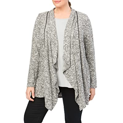 89th + Madison Women's Plus Size Marled Rayon/Poly Knit Draped Open Front Woven Trim Cardigan at Amazon Women's Clothing store