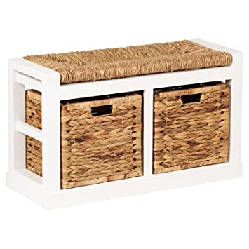 Astonishing Hartleys 2 Drawer Storage Bench With Wicker Cushion Baskets Uwap Interior Chair Design Uwaporg