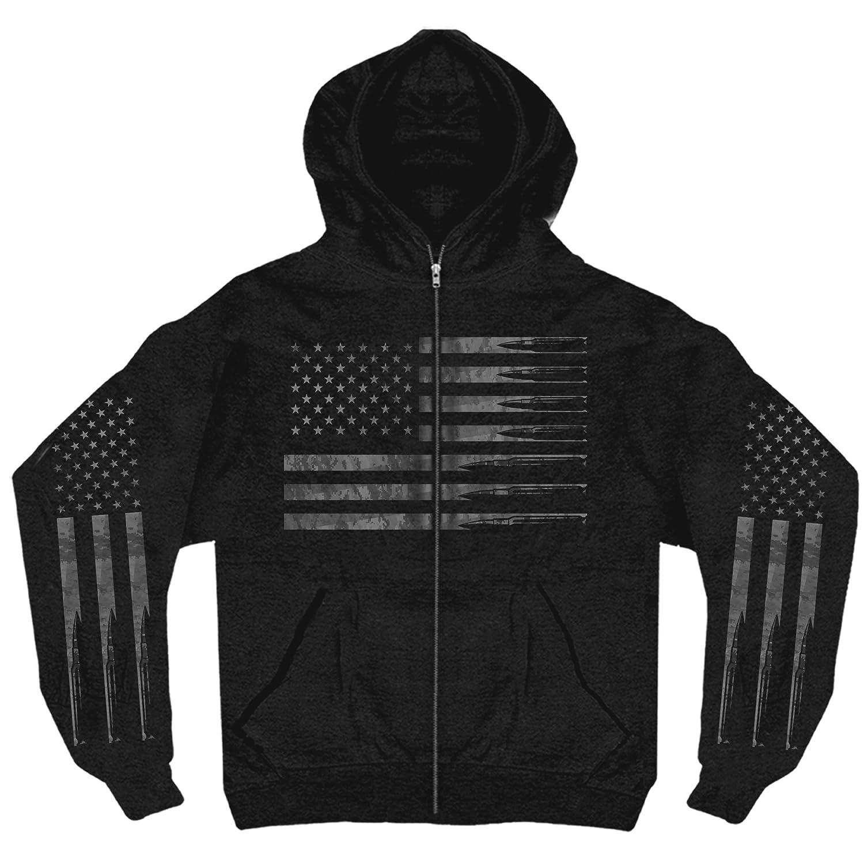 Black, X-Large GMZ4414-33599 Hot Leathers Mens American Flag Bullets Hooded Sweatshirt
