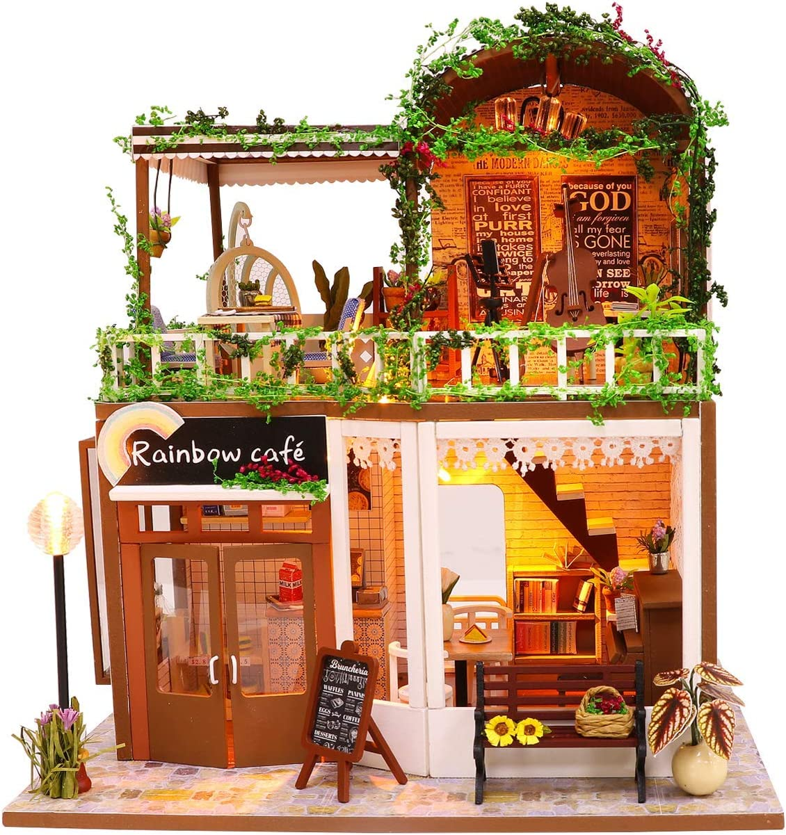 Hoomeda Miniature DIY Dollhouse Kits Wooden Rainbow Cafe Model with Furniture LED and Dustproof Cover and tools Mini Dollhouse for 14 year-old and older