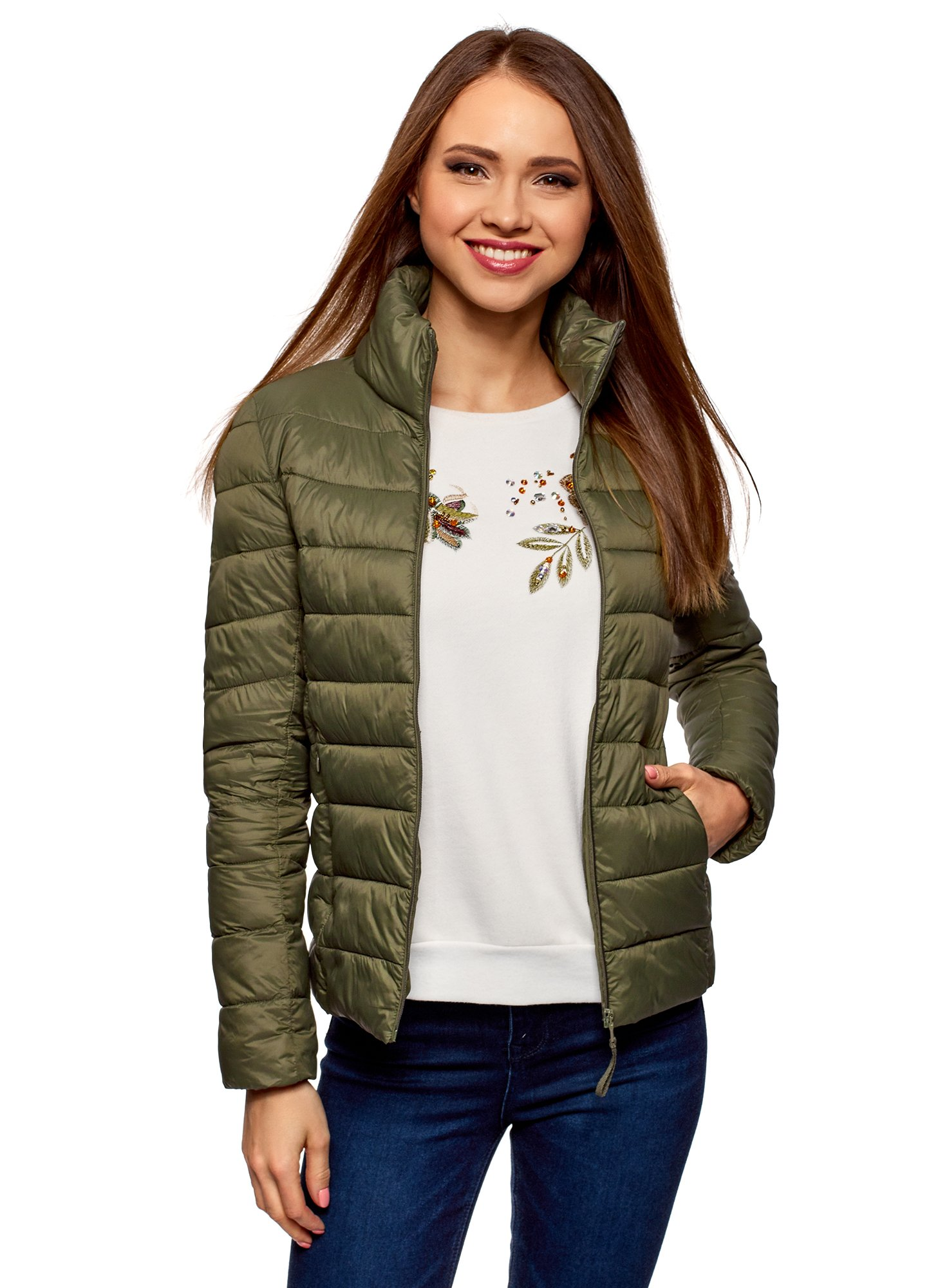 oodji Ultra Women's Quilted Jacket with Large Collar, Green, 0