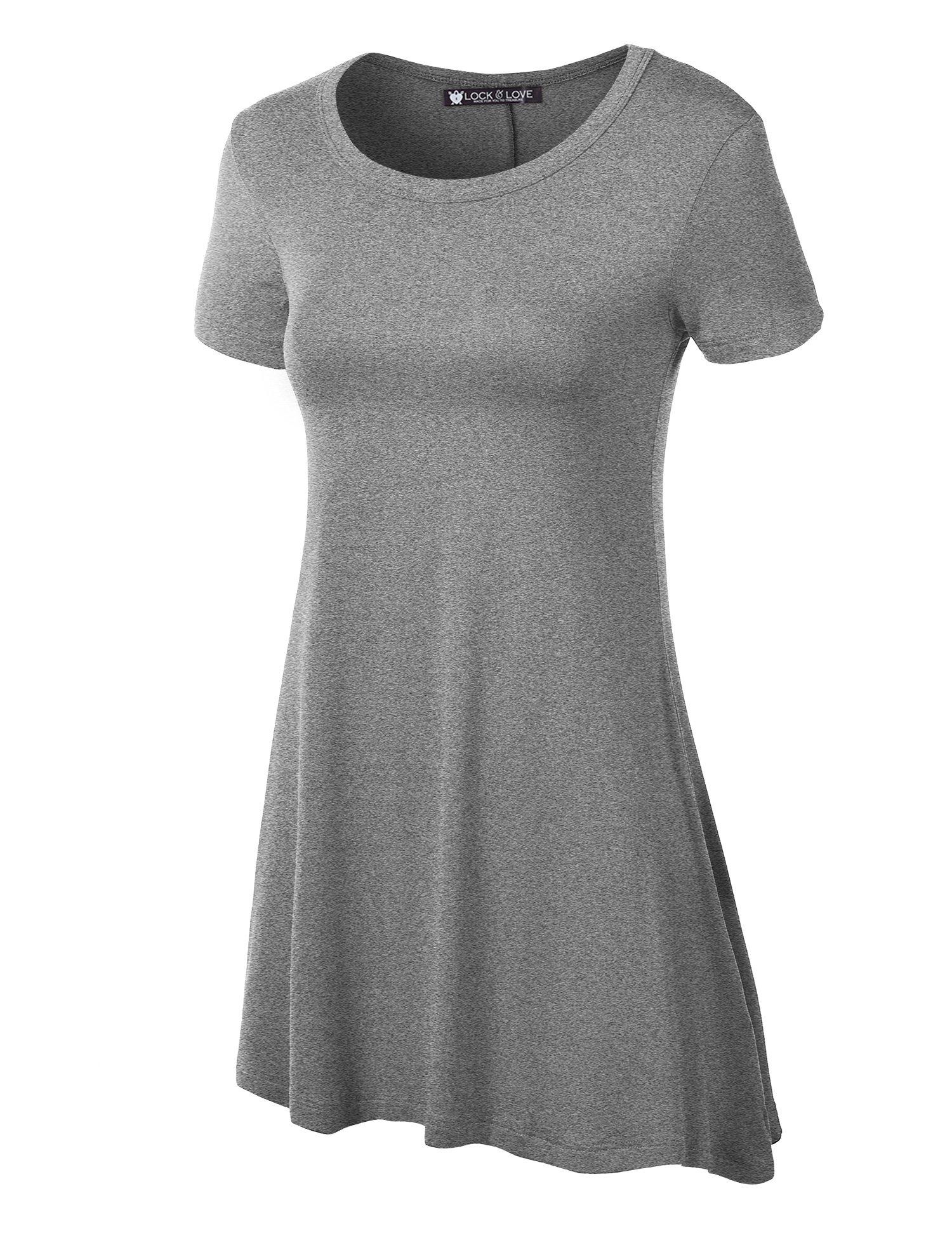 WT770 Womens Short Sleeve Handkerchief Hem Tunic XXL Heather_Grey