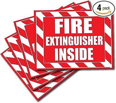 Amazon.com: (Paquete de 4) extintor interior calcomanía ...