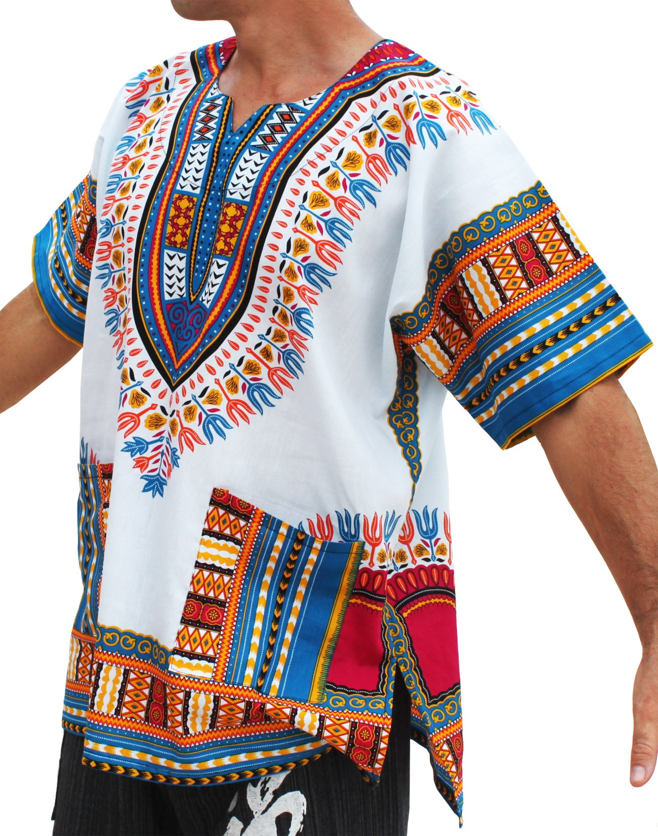 RaanPahMuang Brand Unisex Bright African White Dashiki Cotton Shirt #56 Medium blue XX-Large