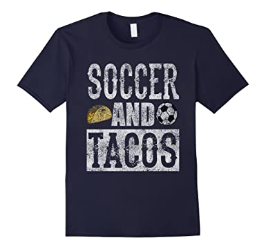 d56e97569 Image Unavailable. Image not available for. Color: Men's Soccer and Tacos  Funny Taco Distressed T-Shirt 3XL Navy