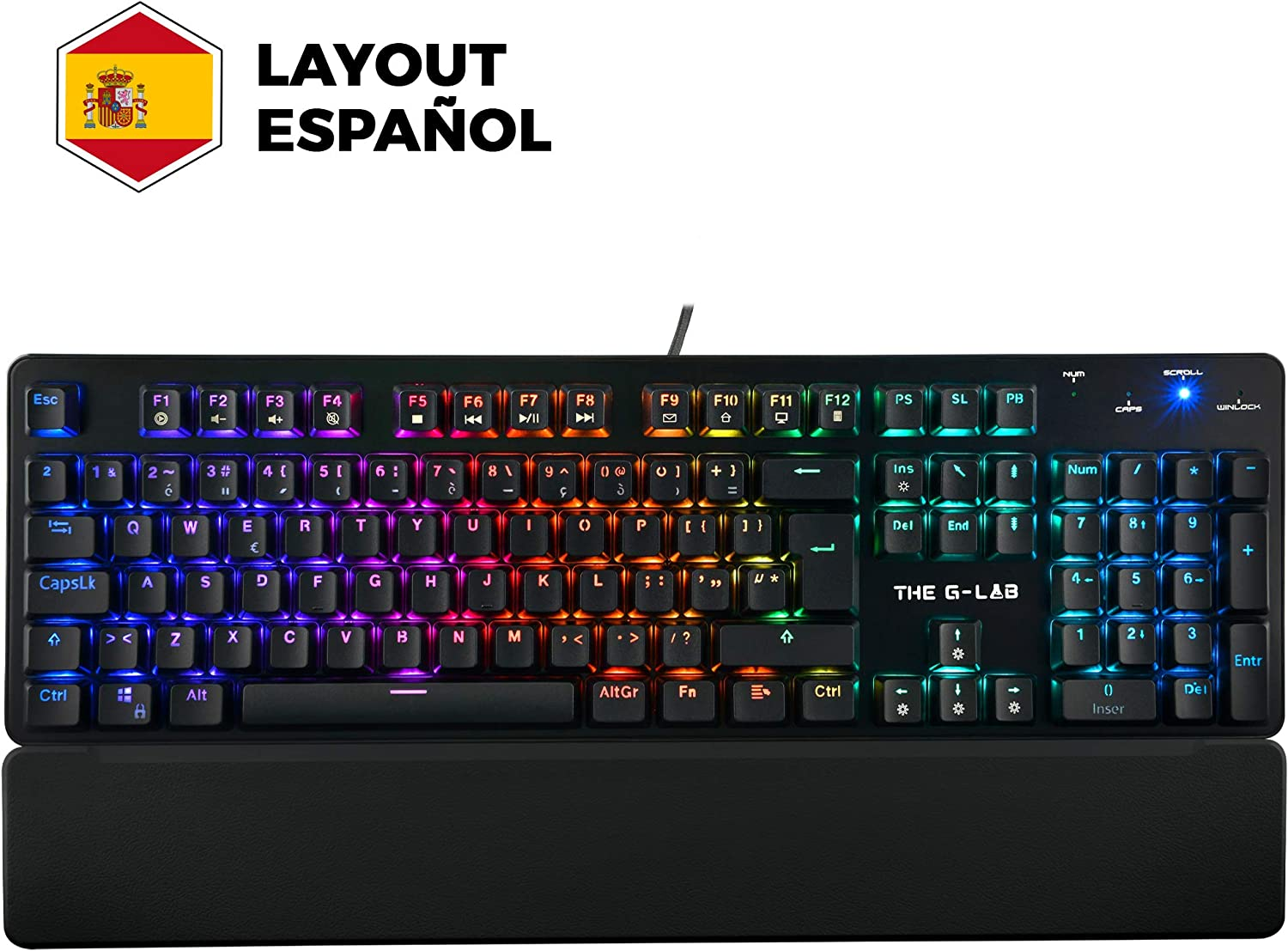 THE G-LAB Keyz Rubidium Teclado Mecánico Gaming QWERTY – Incluye Ñ – Alto Rendimiento – Teclado Mecánico Red Switch – Retroiluminación RGB, Anti-ghosting, ReposaMuñecas - PC PS4 Xbox One (Negro)