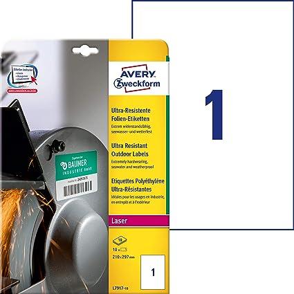 Avery España L7917-10 - Pack de 10 hojas de etiquetas de seguridad, 210 x 297 mm, color blanco: Amazon.es: Oficina y papelería