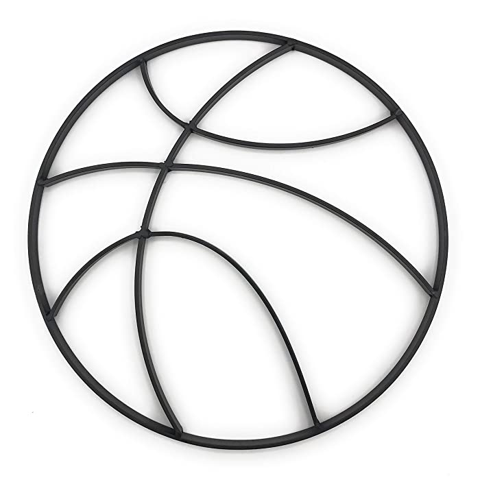 Modern Matte Black Metal Basketball Wall Art Hanging - Boy's Sports Fan Themed Bedroom Nursery – Man Cave Decor
