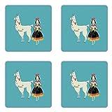Ambesonne Llama Coaster Set of Four, Peruvian Woman