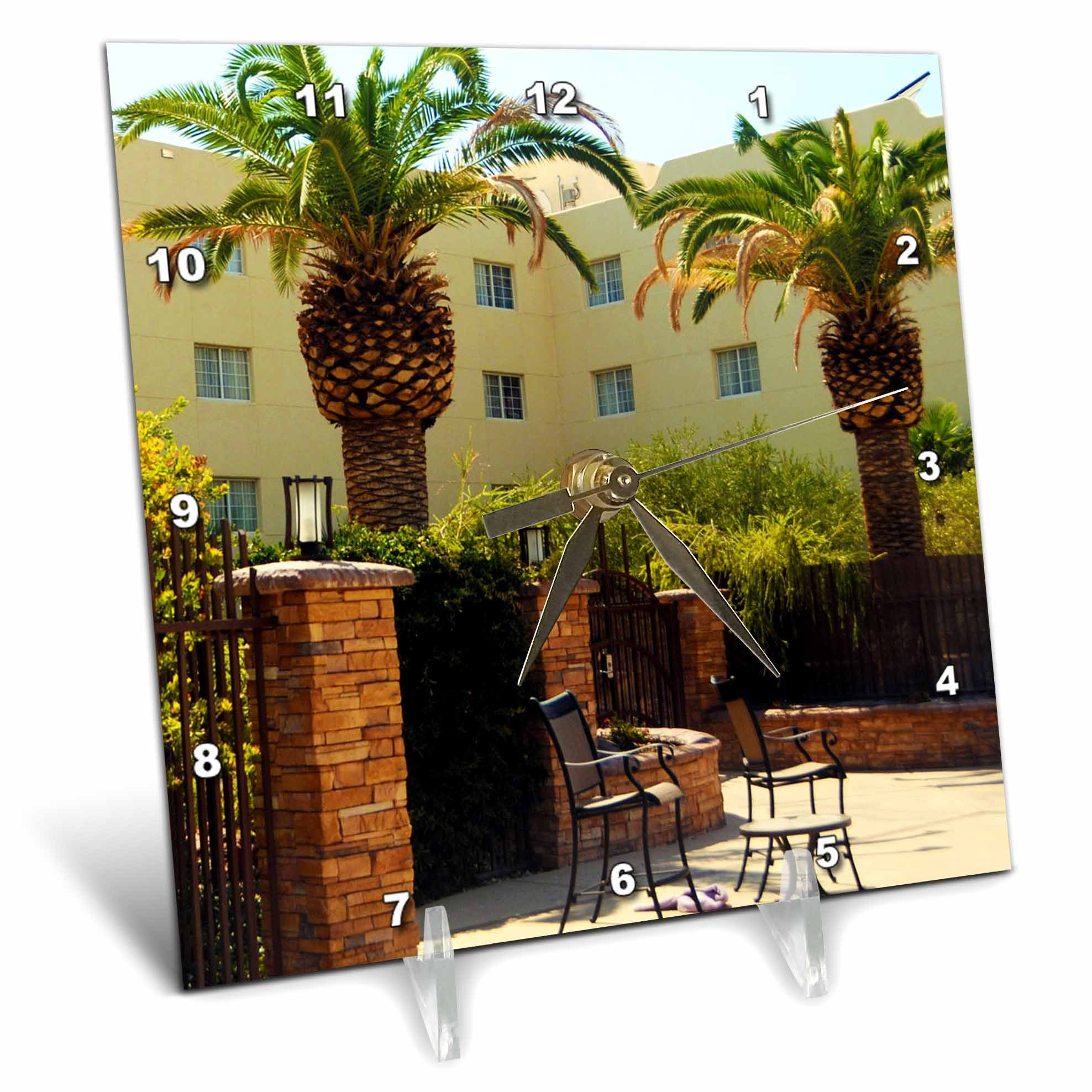 3dRose Jos Fauxtographee- Palms at Hotel - A hotel in Mesquite Nevada with palm trees and chairs - 6x6 Desk Clock (dc_273463_1)