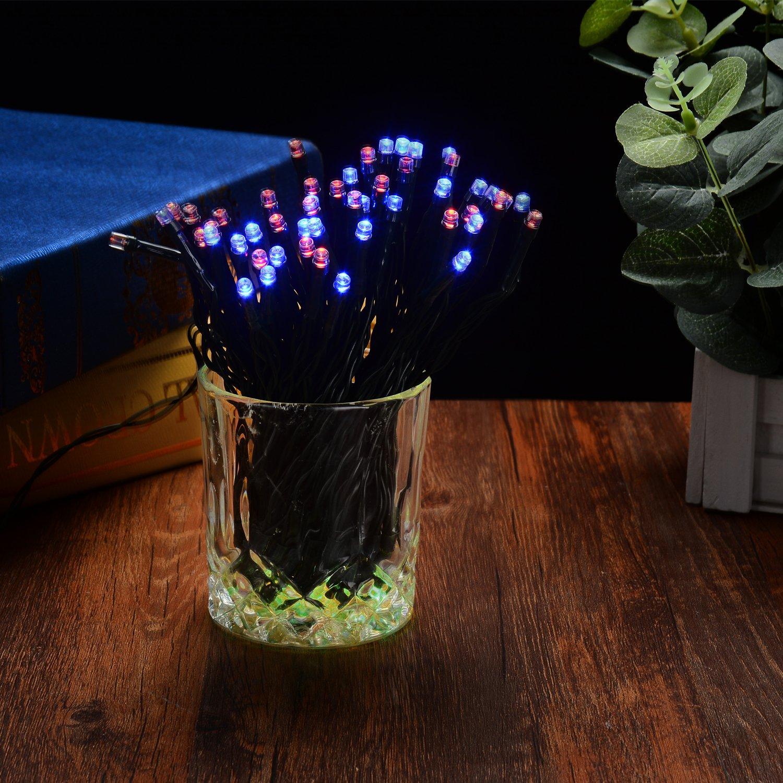 acqua salata Powered no solare batteria Pryeu esterno luci 100/LED multicolore impermeabile 12/m per albero di Natale Garden gazebo