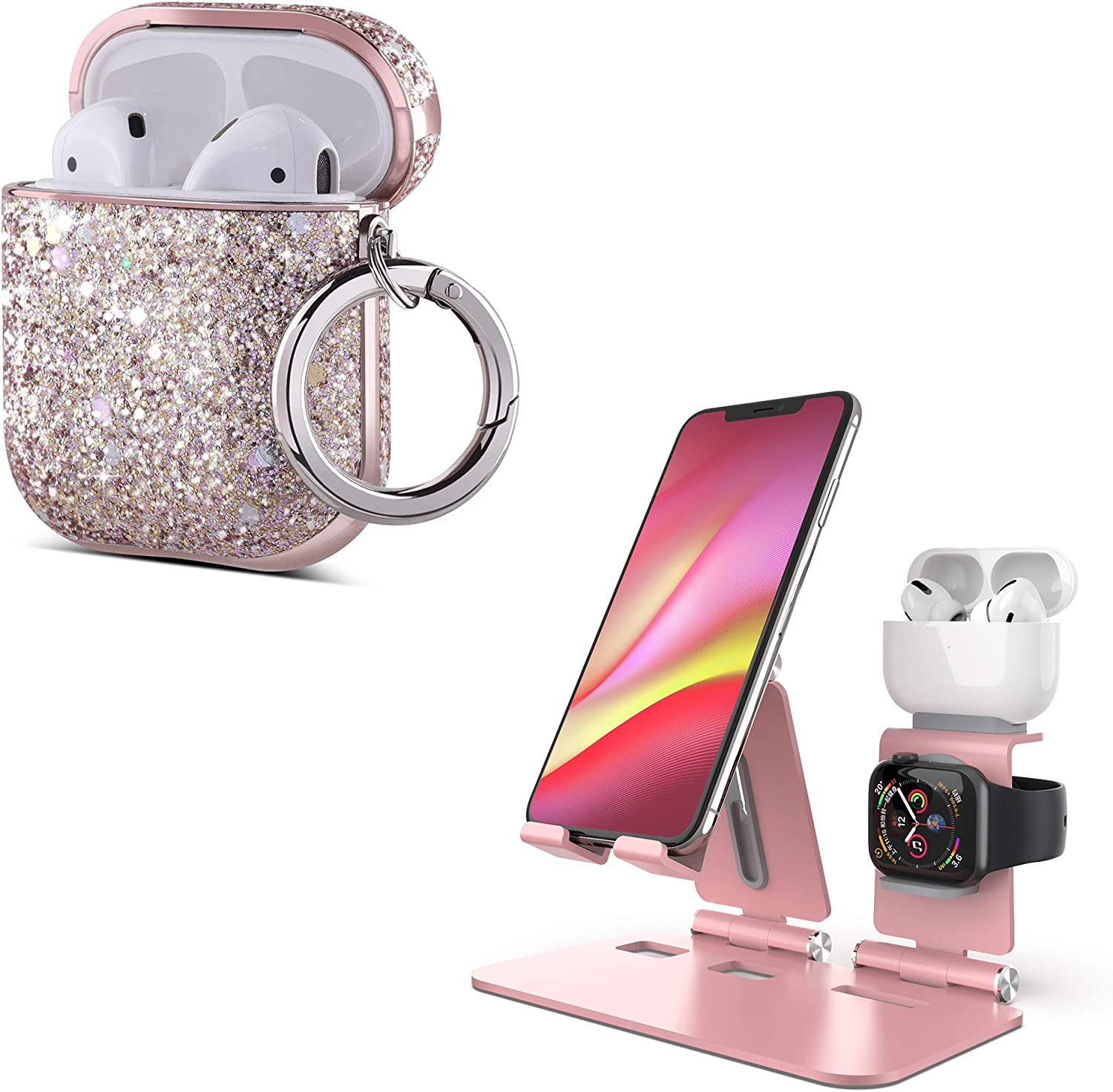 ULAK AirPods Cases Luxury Pink Glitter Leather & Foldable Phone Stand Rose Gold for iwatch Series, AirPods Pro, iPhone 12 Pro Max XR SE Mini, Galaxy S20+ S20 S10+ S10 iPad Mini