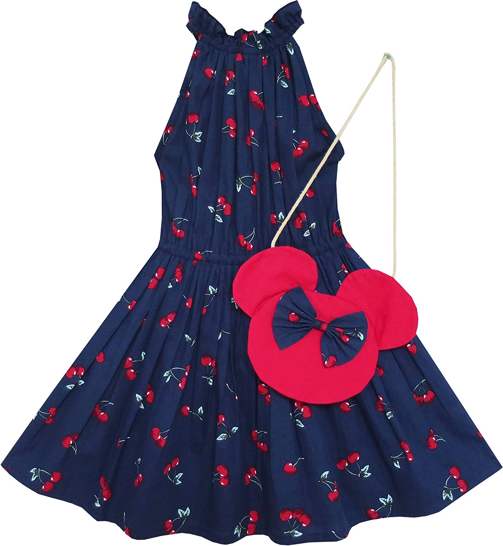 Sunny Fashion Girls Dress Cherry Fruit Print Cotton with Cute Handbag Blue