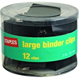 "Staples; Large Metal Binder Clips, Black, 2"" Size with 1"" Capacity"