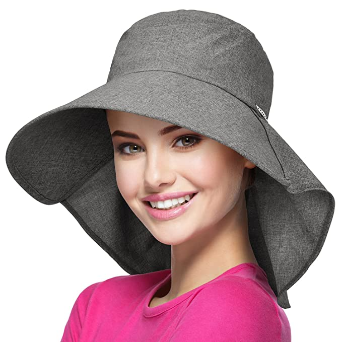 Womens Wide Brim Sun Protection Hat w Flap Neck Cover for Summer Safari  Hiking Grey 56abe873376