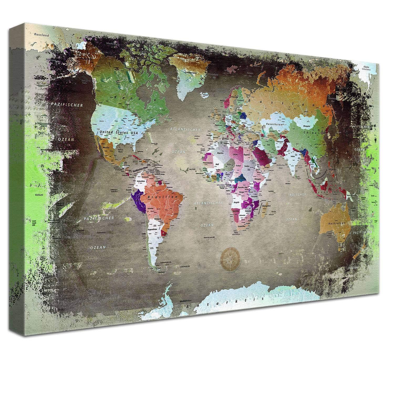 LANA KK Weltkarte Luxus Ausführung Deutsch Kunstdruck Pinnwand auf 4cm Echtholz, Buntdark, 100 x 70 cm