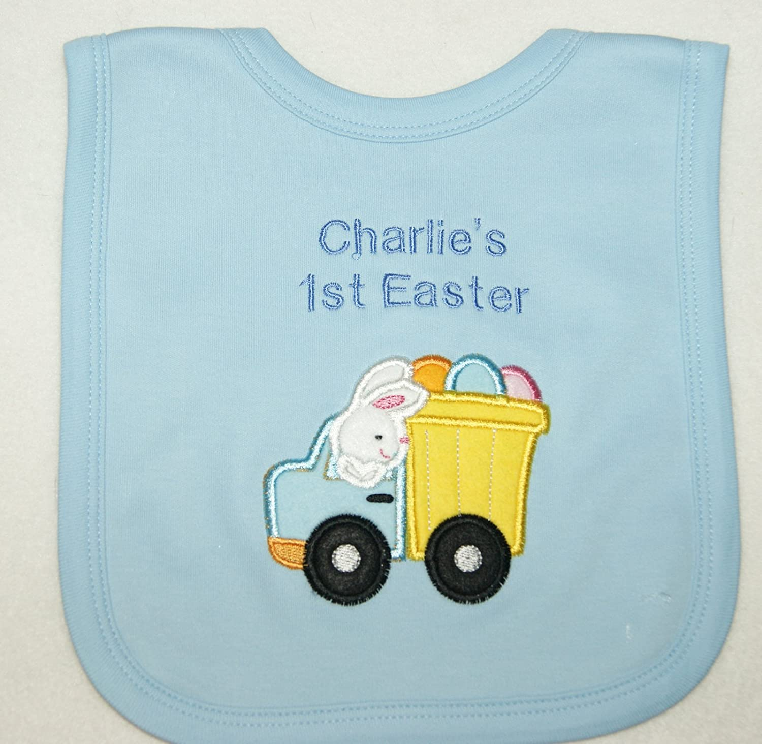 Boys Blue Embroidered Design Any Name Personalised First Christmas Baby Bib