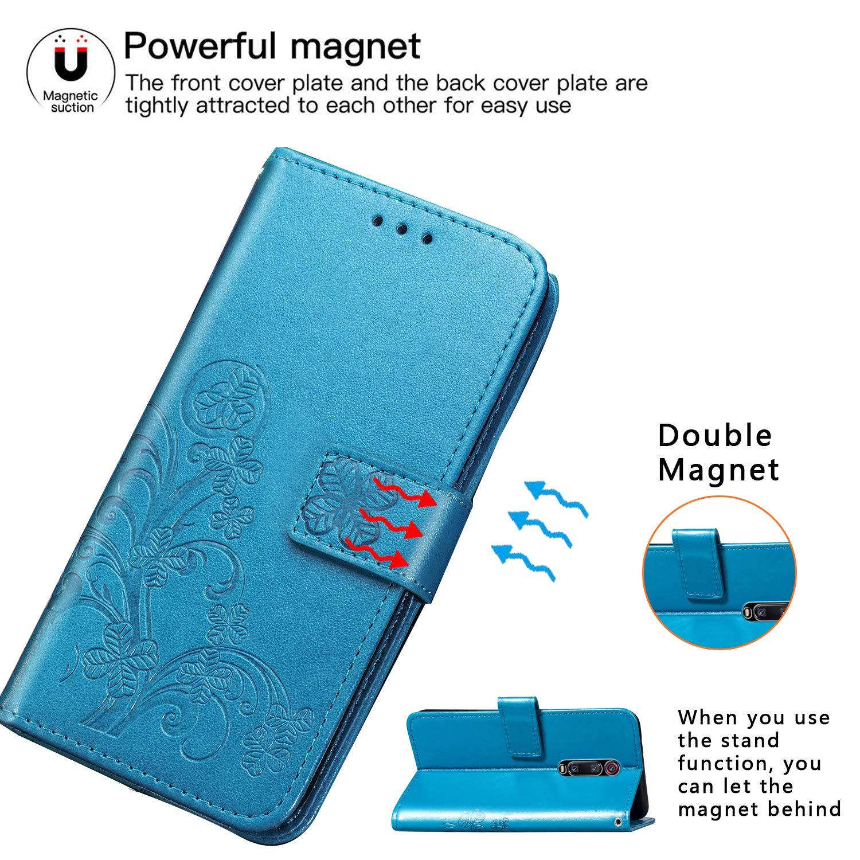AILRINNI Coque pour Xiaomi Mi 9T, [Porte-Cartes de Crédit] [Fonction Support] [Fermeture Magnétique] Cuir Portefeuille Etui Flip Housse de Protection pour Xiaomi Mi 9T/Mi 9T Pro-Bleu